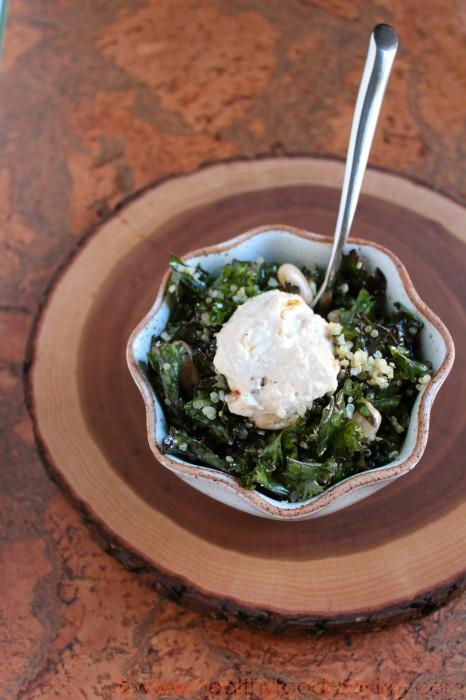 Massaged Kale Salad with Beans, Quinoa, & Hummus