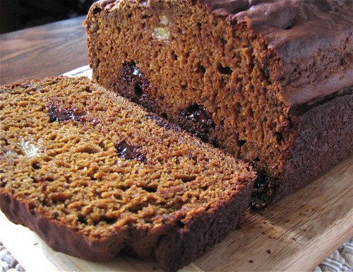 Pumpkin Banana Gingerbread with Chocolate Chips