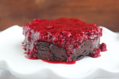 Flourless Chocolate Cake with Raspberry Sauce {for Two}
