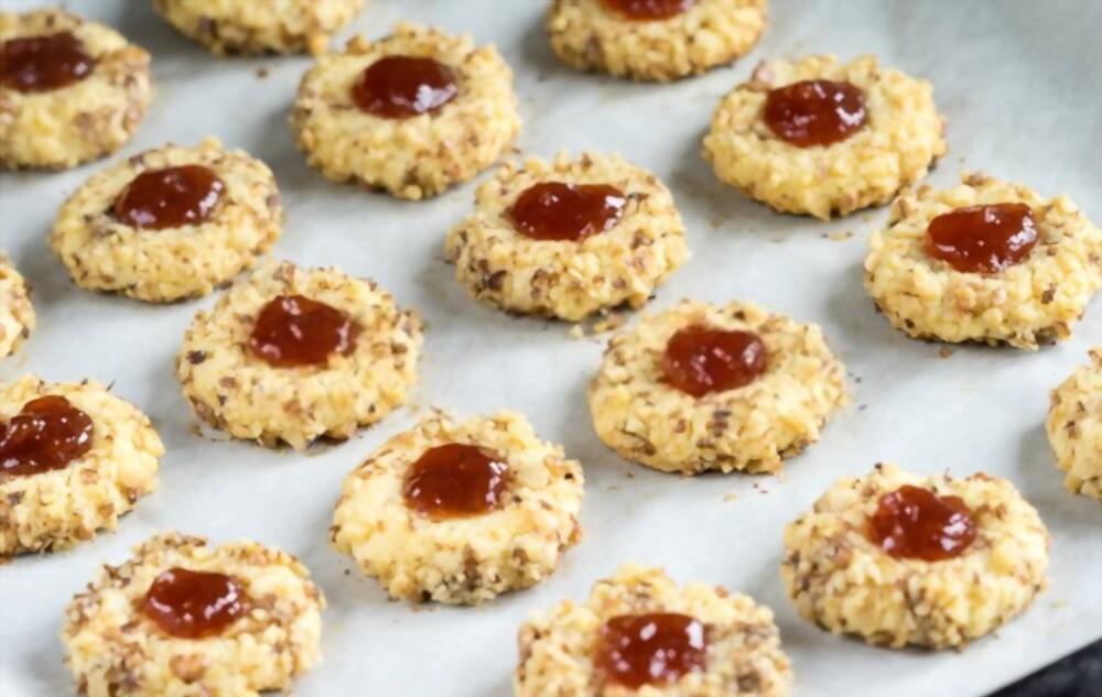Flourless PB&J Thumbprint Cookies