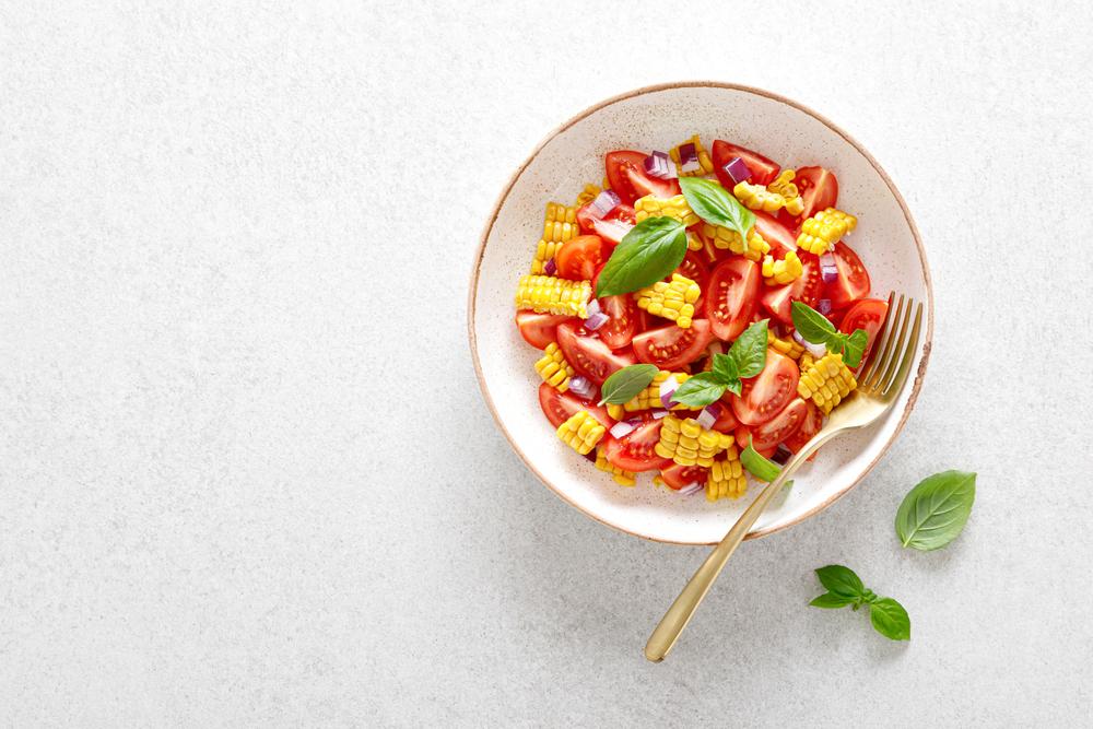 Raw Corn, Tomato, & Basil Salad